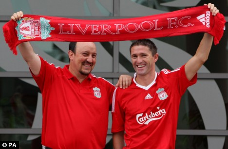 rafa benitez and robbie keane at liverpool