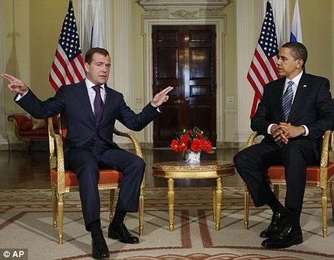 Barack Obama and Russia's President Dmitry Medvedev