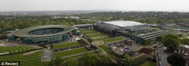 The revamped arena stands next to Court 1 (left)