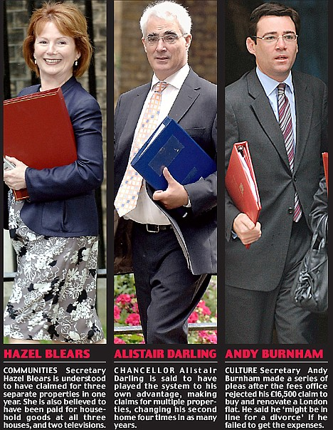Ministers Blears, Darling and Burnham