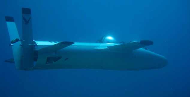 Into the deep blue sea: The submersible can descend at speeds of 200ft per minute and ascend twice as fast at 400ft per minute