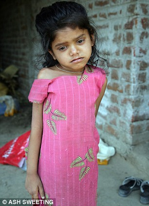 Nita, eight, lives in the village of Nathkuva close to the GFL factory