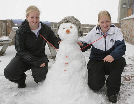 Twins Elizabeth (left) and Jeanette McGregor with snowman at Aviemore