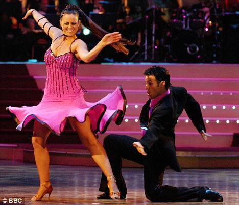 winners of the second series of the BBC's Strictly Come Dancing programme, Jill Halfpenny (L) and Darren Bennett,