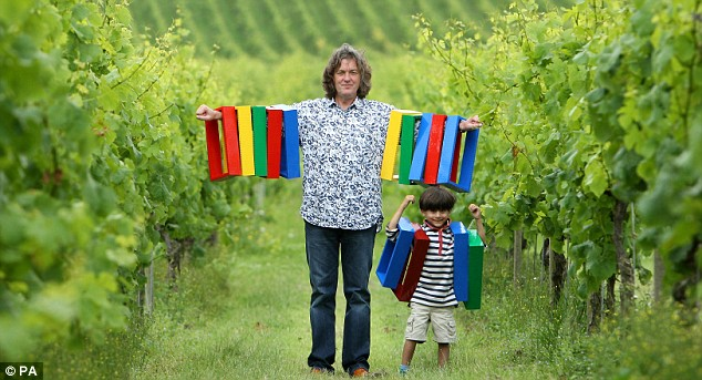 James May and helper with some of the lego bricks