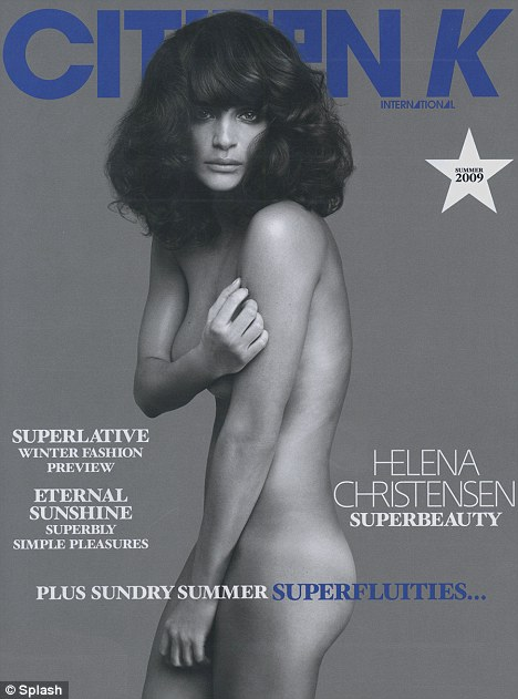 Sexy shoot: Model Helena Christensen covers her modesty with her arms and hands in a nude photo shoot for fashion publication Citizen Kane