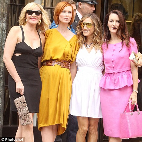 Actresses Kim Cattrall, Cynthia Nixon, Sarah Jessica Parker and Kristin Davis on location for the new movie 'Sex and the City 2'