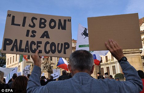 Anti-Lisbon Treaty protesters in Prague