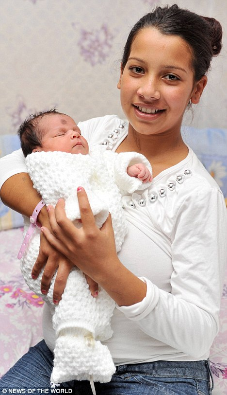 Pre-teen mother Korteza, 11, with her newborn baby Violeta