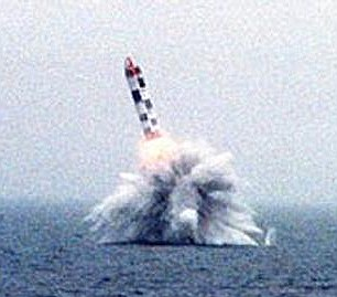 A Bulava missile is fired from a submarine in this undated file photo. Russia has yet to confirm if a similar test launch was behind the mystery lights seen over Norway yesterday
