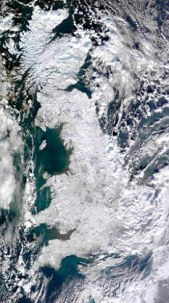 This image of the UK taken from NASA's multi-national Terra satellite on Thursday shows the extent of the freezing weather