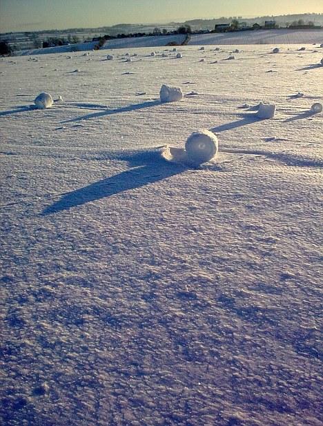 Rare self-rolling giant snow rolls