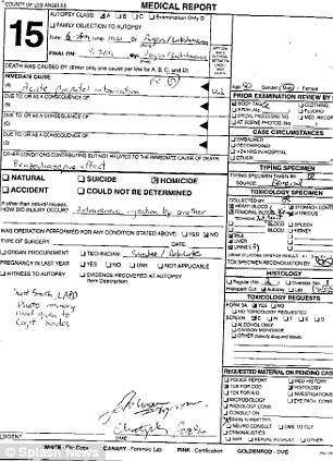 Jackson's coroner report