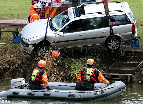 The Vauxhall Vectra showed few signs of damage, although its sun-roof and windscreen were missing