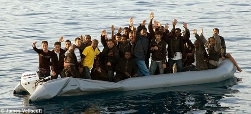Immigrants entering Greece from Turkey on an inflatable boat