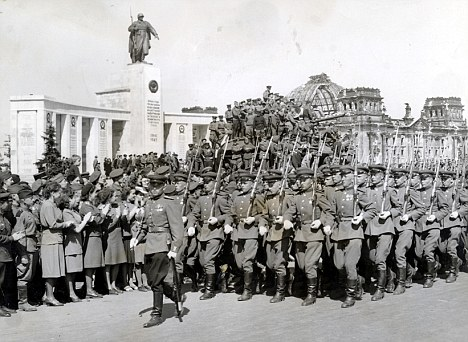 Red Army troops in procession in Berlin, Germany