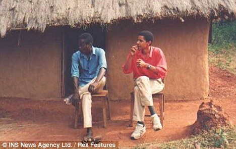Obama smoking with a relative in front his family's hut in Kenya, Africa. He first announced his decision to quit in 2007, in order to please his wife Michelle, while on the David Letterman Show