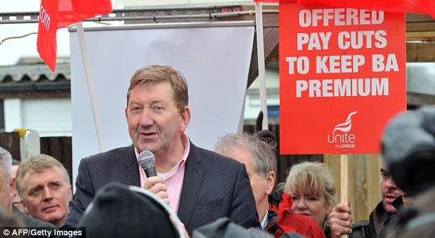 Unite assistant general secretary Len McCluskey, pictured speaking to BA strike supporters this week, has promised to 'reconstruct' the Labour Party if elected as leader of the union