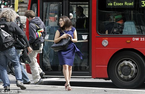 Traffic stopping: Betty takes a red London bus