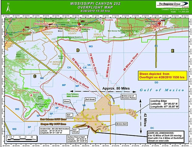 UK Mail Foreign Service - published this chart showing the Gulf of Mexico Oil Spill from the Deepwater Horizon drilling disaster - on April 26, 2010 - graphic from US Coast Guard and industry task force working on the crude oil spill early in the process of cleanup