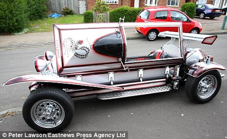 Digging in:  Phil Bissett bught the coffin on ebay at a fraction of its original  worth