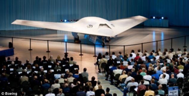 Crowds of employees gathered to view the Phantom Ray unmanned airborne system for the first time