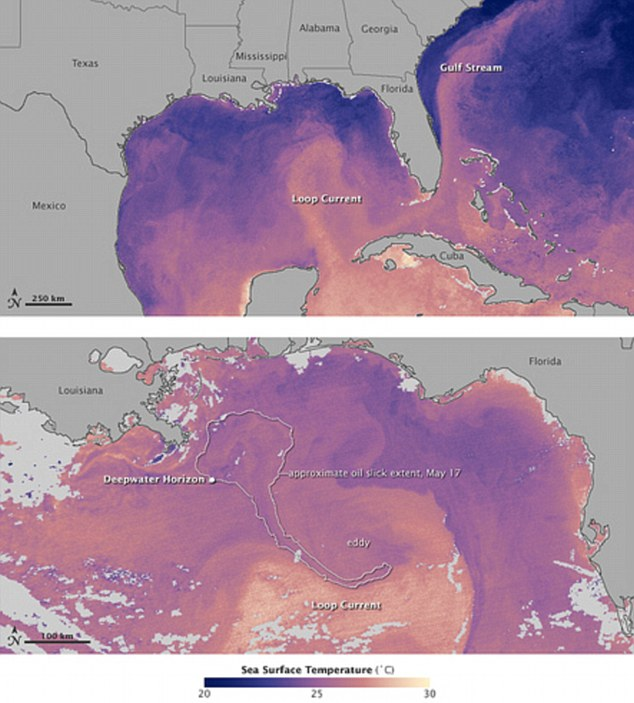 NASA images of Gulf of Mexico oil spill