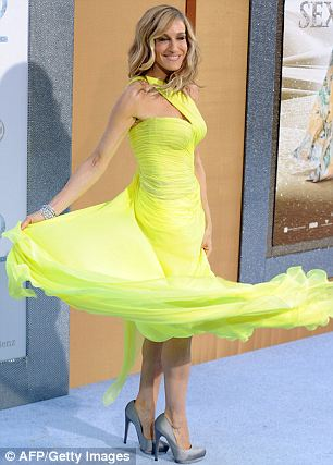 Floaty: Parker made a statement in her bright Valentine Couture gown