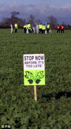 Protesters rip up GM crops in Warwickshire in 2002