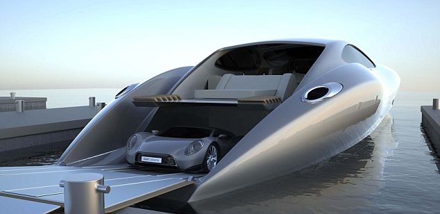 This artist's impression shows the matching supercar rolling off the docked £17million yacht