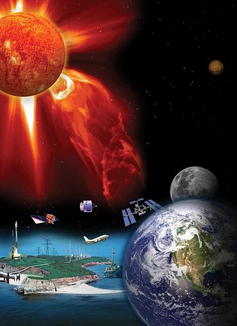 Ta grafika pokazuje, jak rozbłyski słoneczne słoneczne może zagrożenie życia ludzkiego poprzez zakłócanie systemów high-tech, takich jak satelity i sieci energetyczne