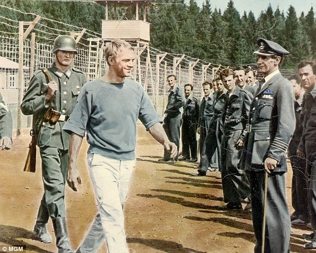 Making a break: Steve McQueen starred in The Great Escape, the 1963 film about life in Stalag Luft III