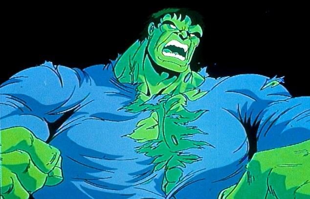 Inspiration: Bruce Banner rips his shirt to become the Incredible Hulk in the TV cartoon
