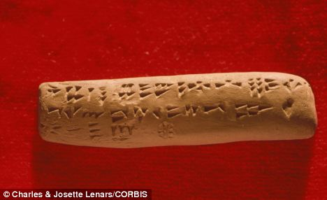 A clay tablet found at the ancient city of Ugarit, dating from around 1400 BC