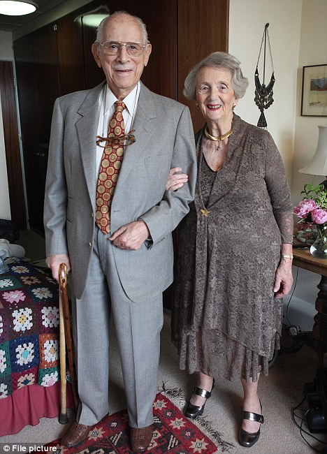 Happy couple: Henry Kerr and Valerie Berkowitz (pictured here on their wedding day) became Britain's oldest newlyweds last year with a combined age of 184 years