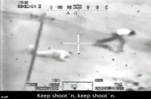 Another still from the 2007 video shows Afghans falling to the ground as U.S. soldiers encourage each other to keep shooting