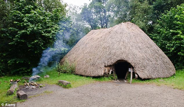 A depiction of a stone-age house in Ireland.