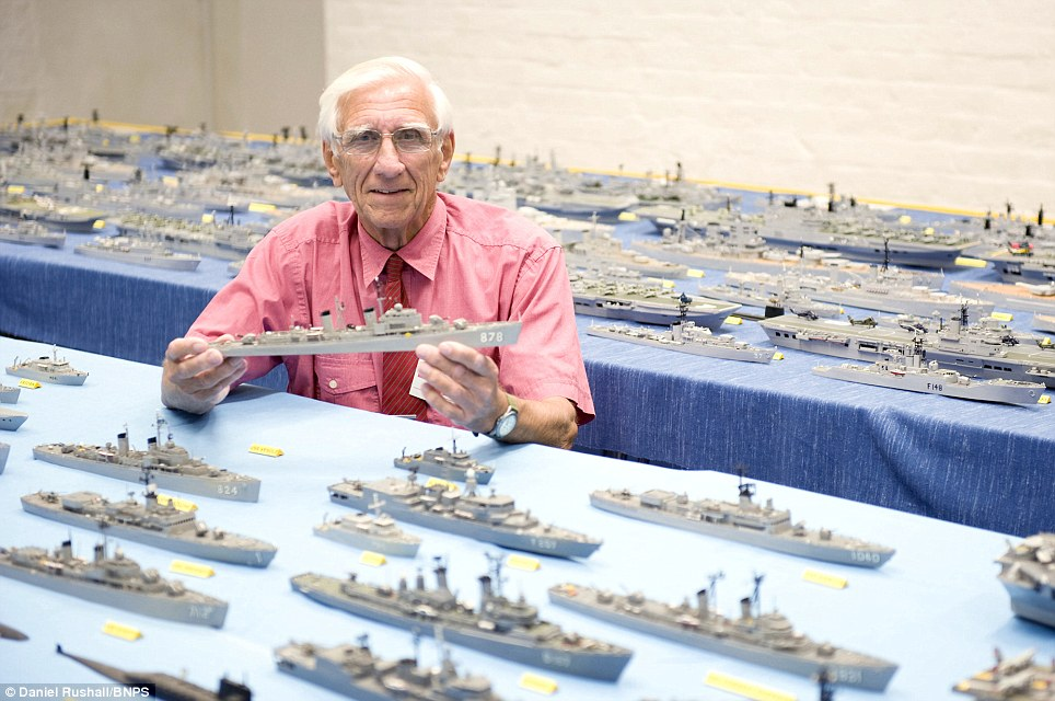 Phillip Warren with his ships.  Photo by Daniel Rushall.