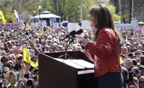 Sarah Palin speaks to supporters during the Tea Party Express tour in Boston