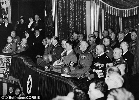 Adolf Hitler and Nazi Party leaders at the Berlin Opera House where Margery Booth performed in 1936.