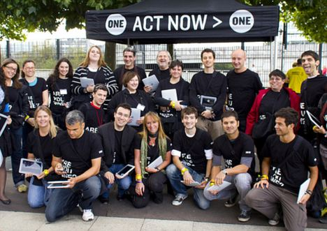 Action men and women: Staff from Bono's ONE charity