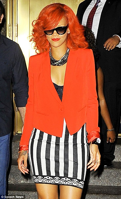 Rihanna Is Red Hot As She Matches Her Blazer To Her Hair