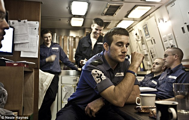 Relaxing in the Junior Rates Mess on HMS Talent