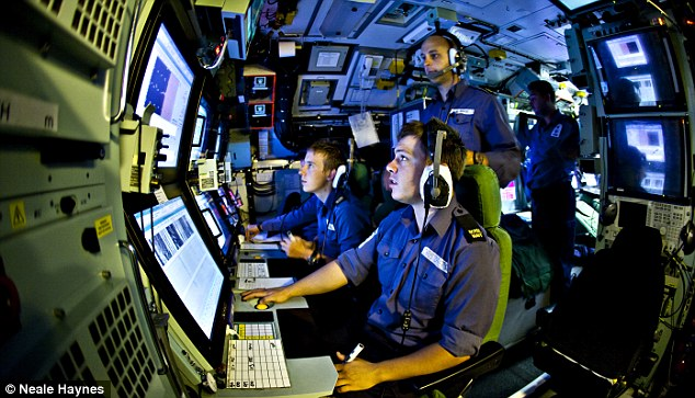 Sonar operators track ships and submarines in the sound room on HMS Talent