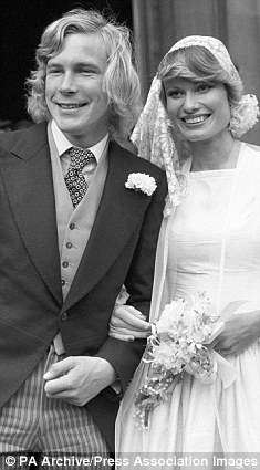 British Formula One driver James Hunt shortly after marrying model Suzy Miller