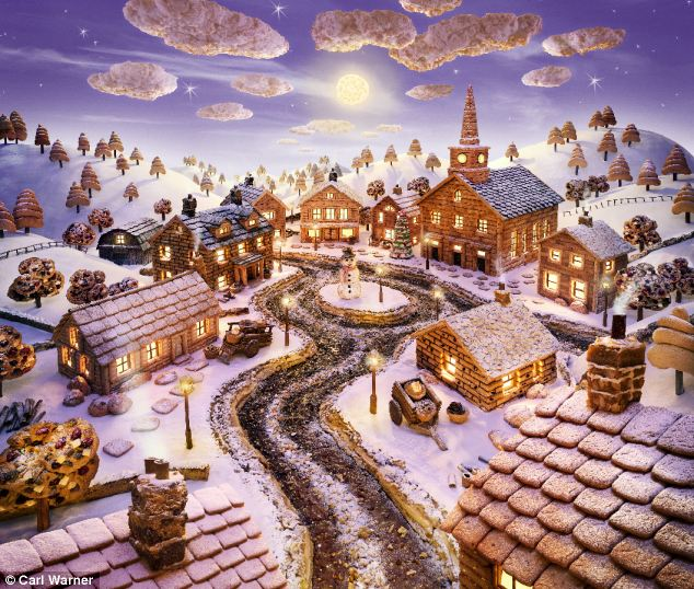 Carl's 'village' Village features chocolate mallow cookie pie, ginger almond and chocolate chip biscotti, chocolate peanut cookies and a raft of bakery favourites, dusted with icing sugar 'snow'. Coconut macaroon clouds float above the idyllic scene