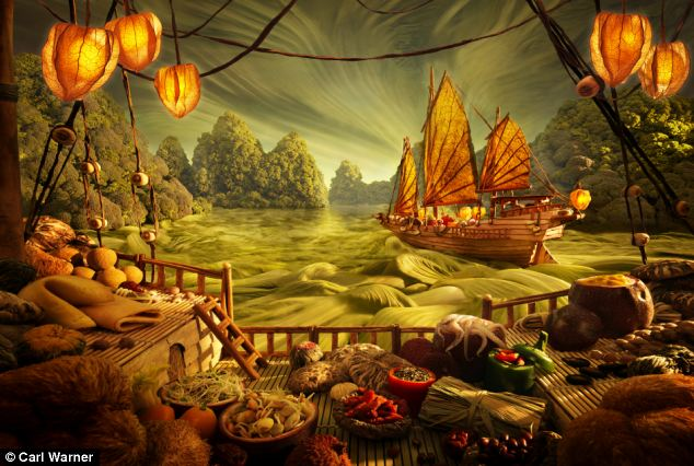 Mr Warner's riverscape includes soya yellow bean, cinnamon stick, dried lotus seeds and herbs, with physalis lanterns and a noodle floor, and bok choy and Savoy cabbage landscape
