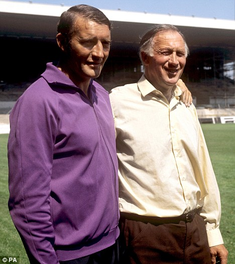 Legendary: Manchester City management Joe Mercer (right) and Malcolm Allison