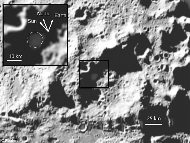 Evidence: Debris, highlighted inset, that was ejected from the Cabeus crater after a rocket was fired at the moon, revealed 6% of the material was silver