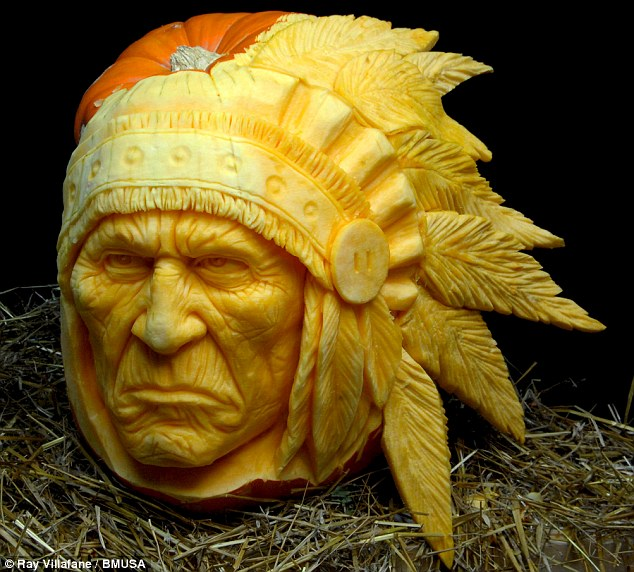 Native American: This less spooky sculpture is called Gourdonomo